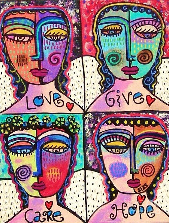 Four Painting - Four Gemstone Angels  by Sandra Silberzweig