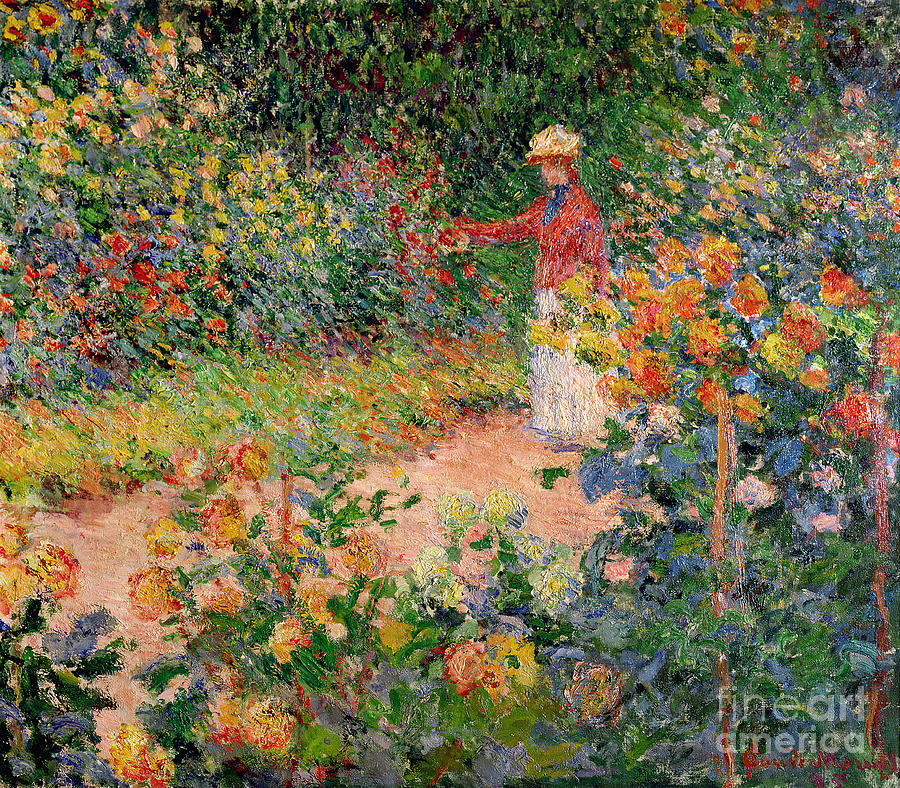 Garden Painting - Garden At Giverny by Claude Monet