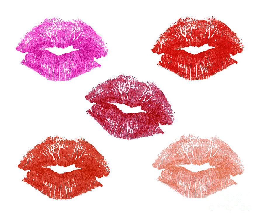 Graphic Lipstick Kisses Photograph