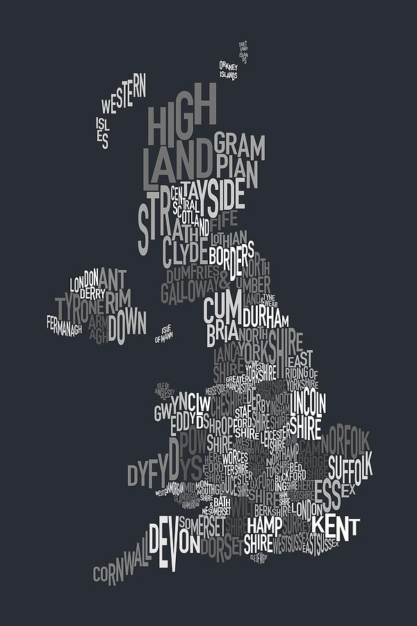 A Typographic Text Map Of Great Britain. Each County Is Represented By Its Name In The Shape Of The County. Digital Art - Great Britain County Text Map by Michael Tompsett