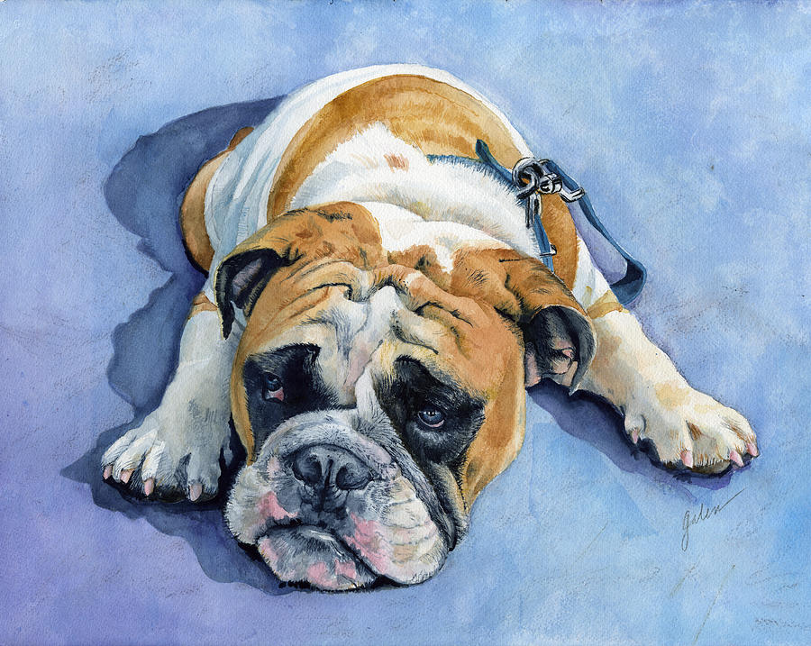 Bulldog Painting - Gumdrop by Galen Hazelhofer