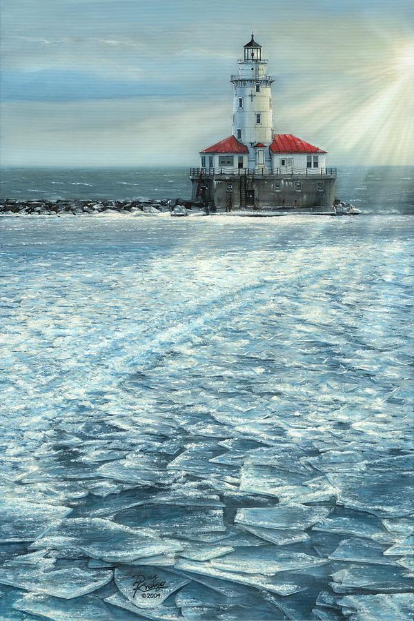 Fine Art Painting - Harbor Light by Doug Kreuger