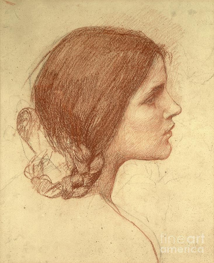 Waterhouse Drawing - Head Of A Girl by John William Waterhouse