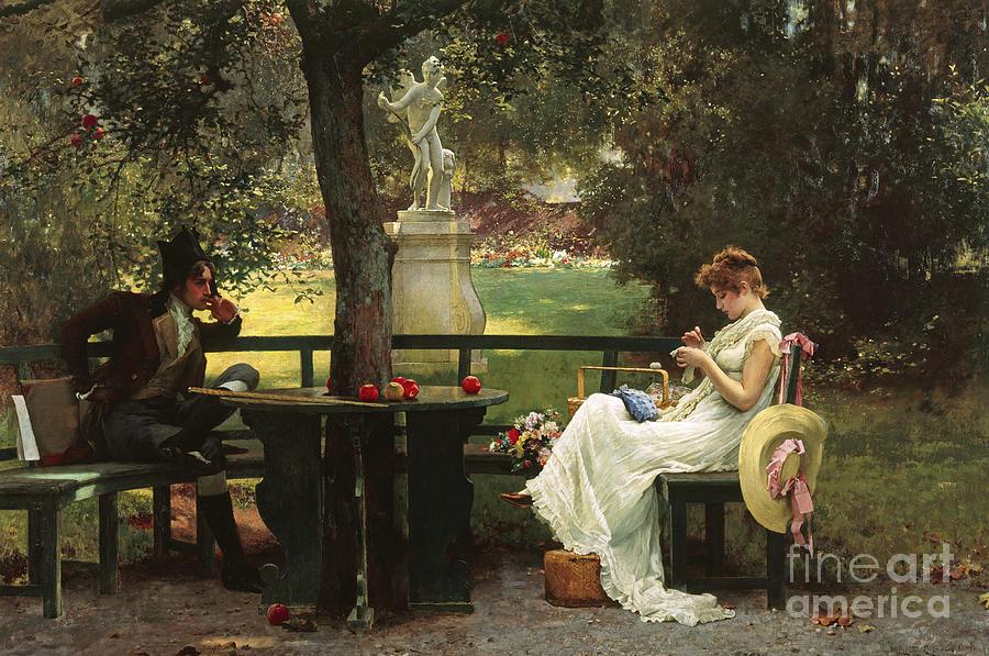 In Love (oil On Canvas) By In Love (oil On Canvas) By Marcus Stone (1840-1921) Painting - In Love by Marcus Stone