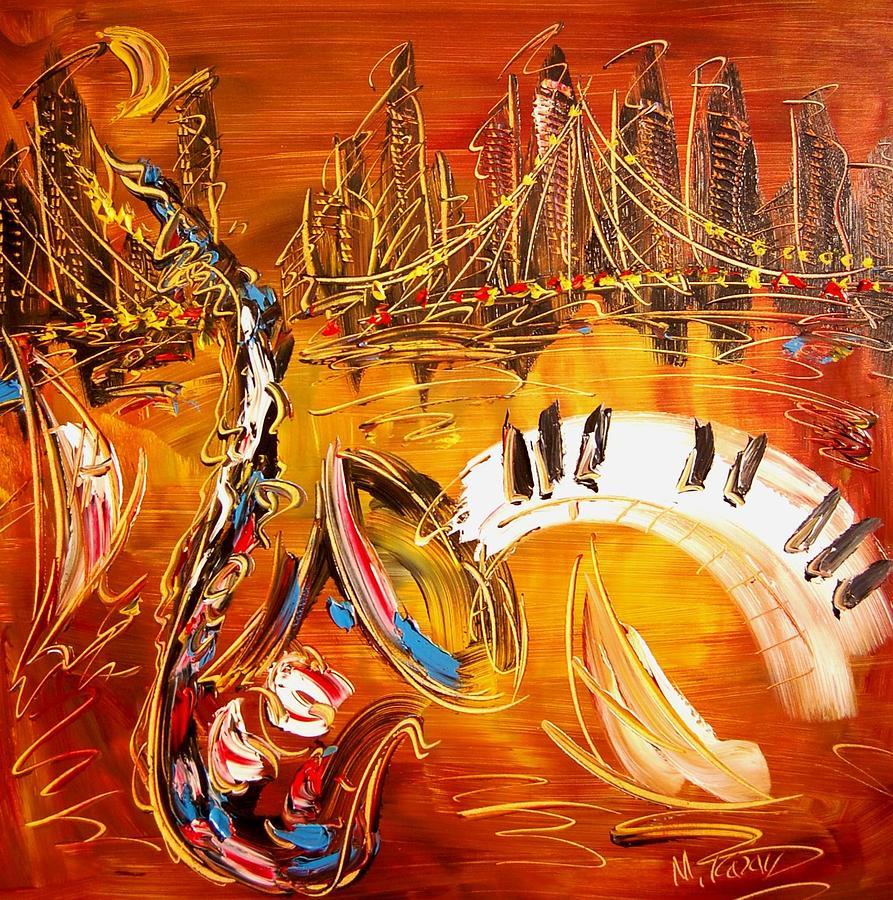Landscape Framed Prints Painting - Jazz City by Mark Kazav