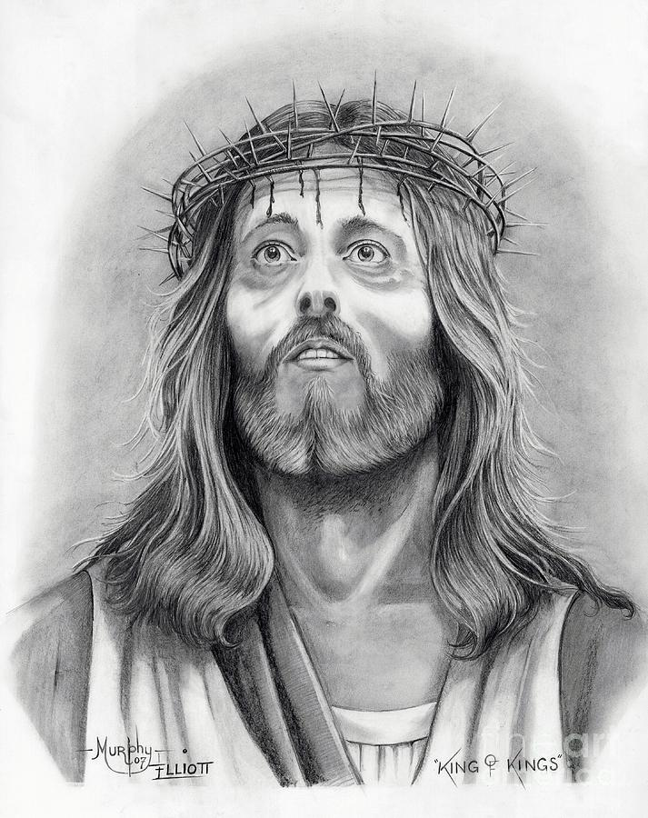 Jesus Christ Drawing - King Of Kings by Murphy Elliott