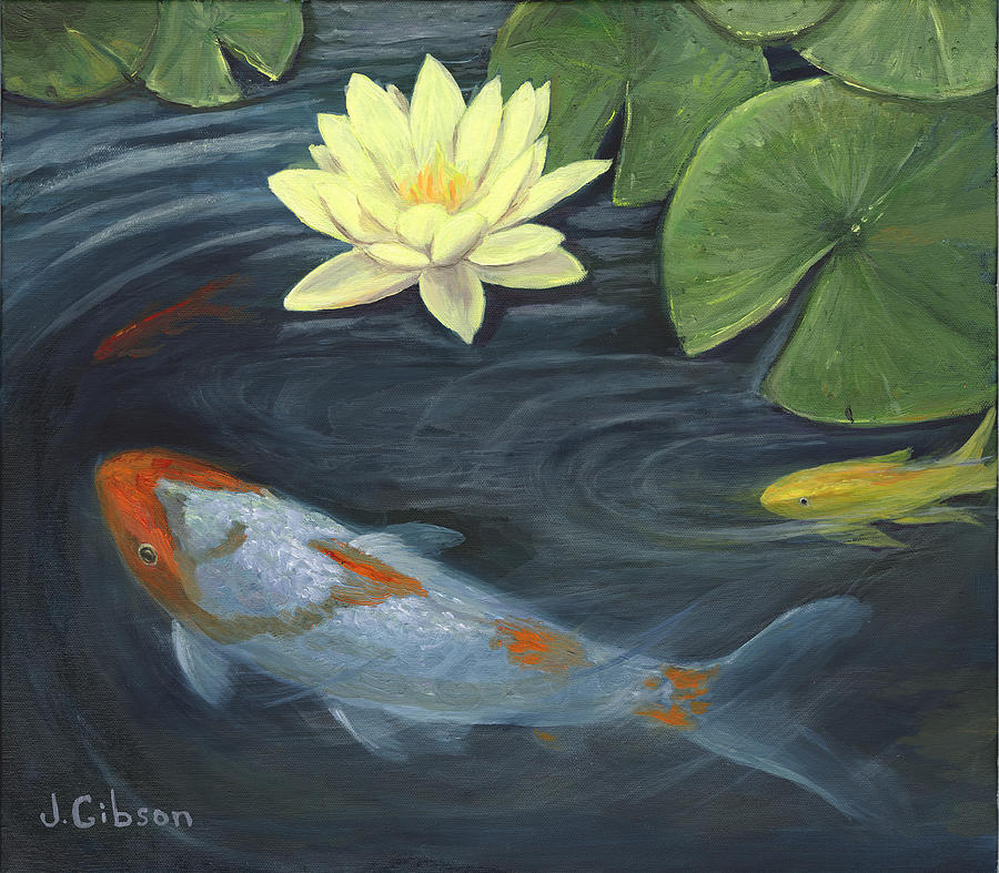 Koi pond painting by joyce gibson for Koi pond color