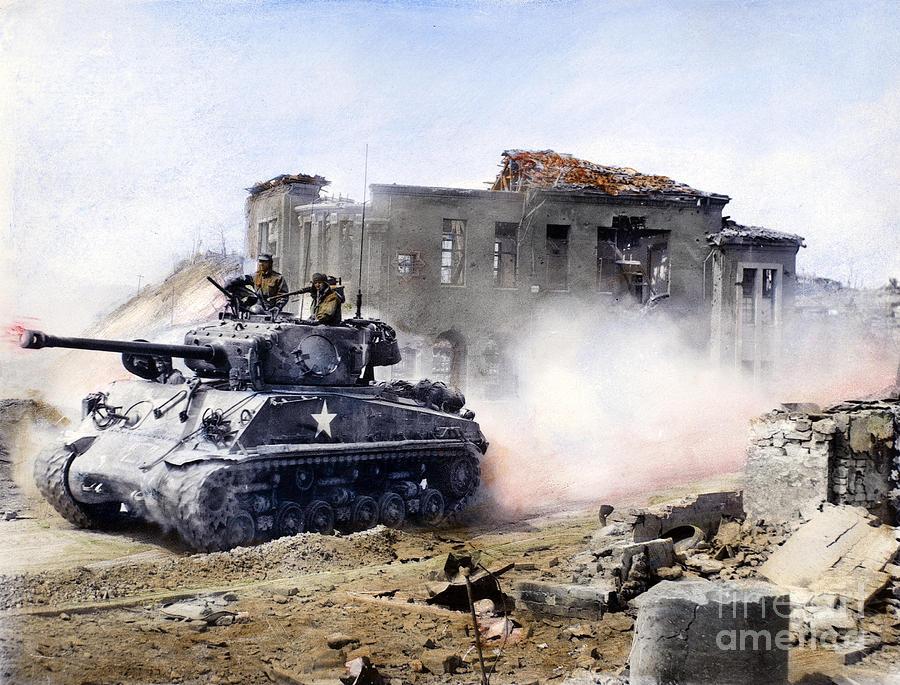 1951 Photograph - Korean War: Tank, 1951 by Granger