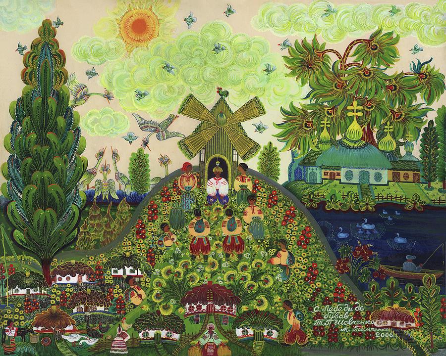 Village Painting - Lebedy Village Visited By T. G. Shevchenko Sometimes by Marfa Tymchenko