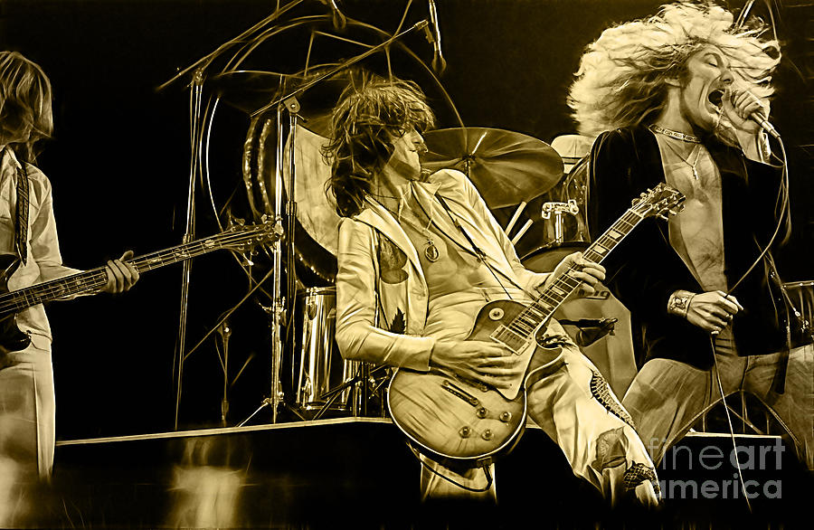 led zeppelin collection mixed media by marvin blaine. Black Bedroom Furniture Sets. Home Design Ideas