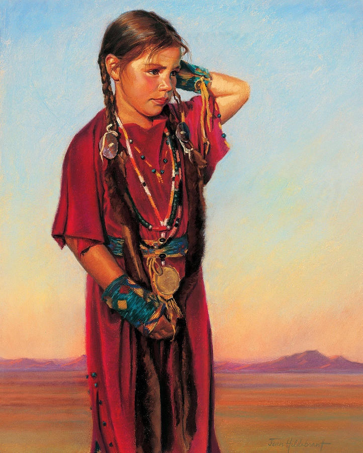 American Indian Painting - Little American Beauty I by Jean Hildebrant