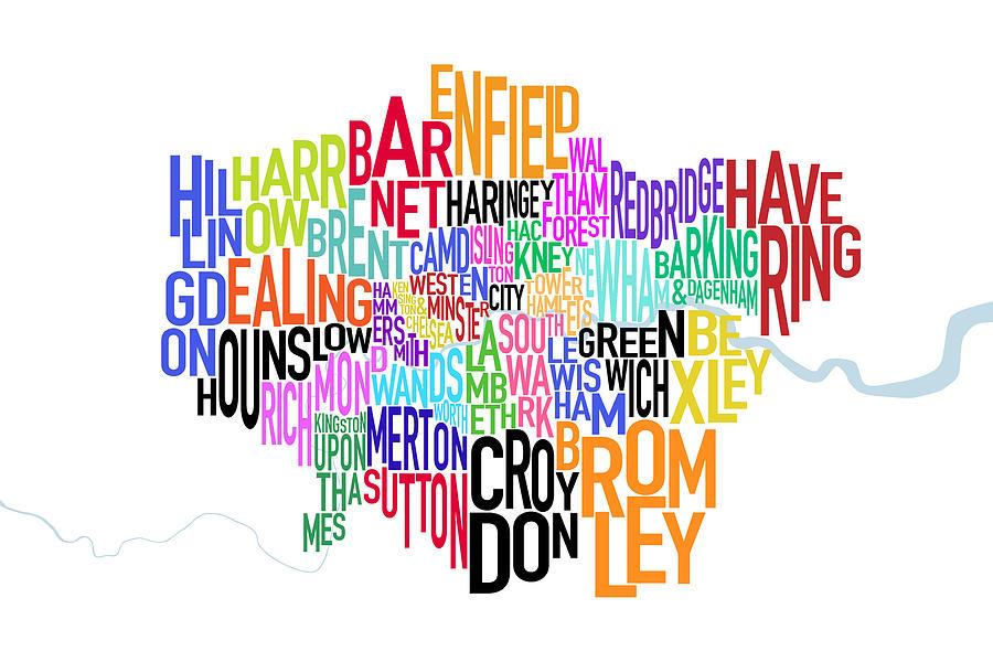 London Uk Text Map Digital Art