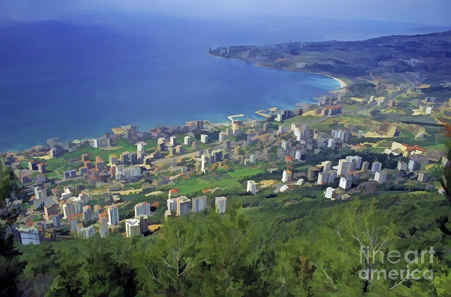 Beirut Digital Art - Looking Over Jounieh Bay From Harissa by Sami Sarkis