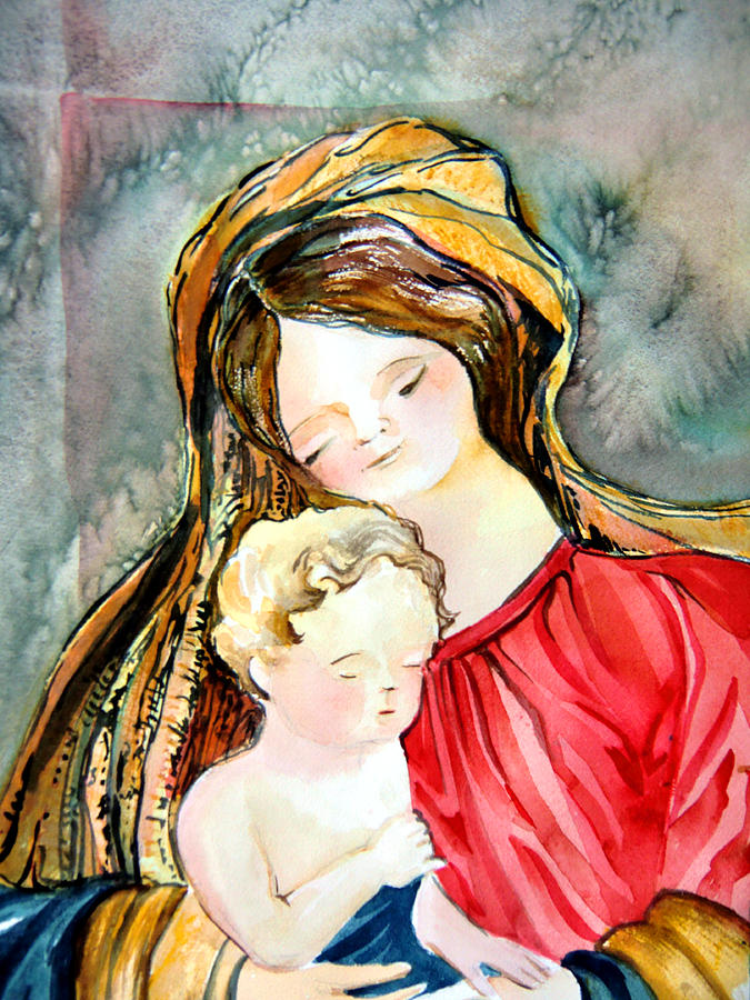 Christmas Painting - Mary And Baby Jesus by Mindy Newman