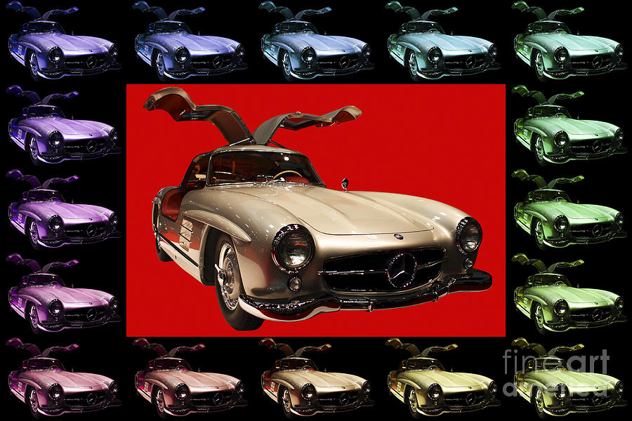 Mercedes 300sl Gullwing . Front Angle Artwork Photograph