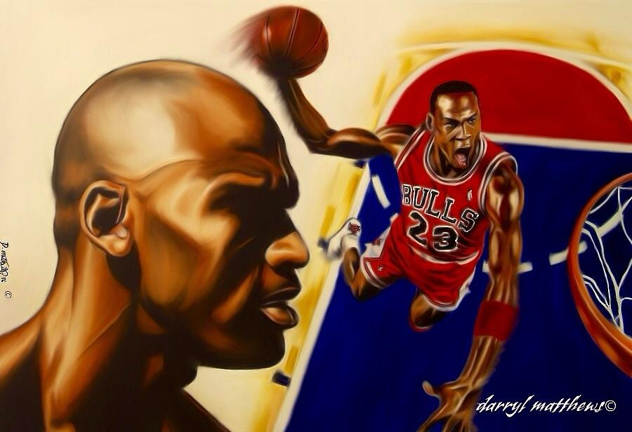 Sports Painting And Portraits Painting - Michael Jordan by Darryl Matthews