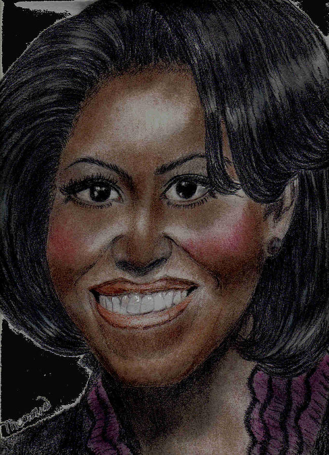 Portrait Of Michelle Obama Drawing - Michelle Obama by Thomasina Marks