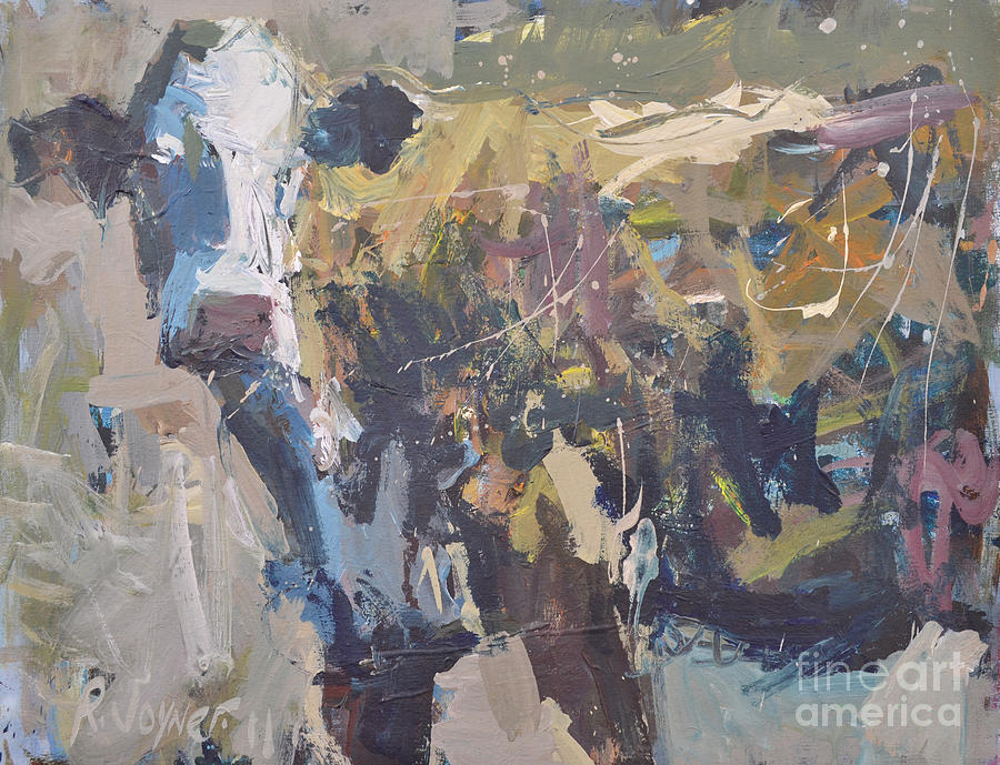 Art Painting - Modern Abstract Cow Painting by Robert Joyner