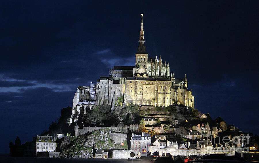 Mont St. Michel At Night Photograph
