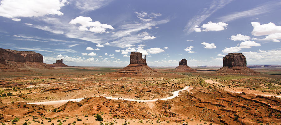 Clouds Photograph - Monument Valley Wide Angle by Ryan Kelly