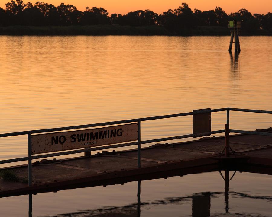 California Photograph - No Swimming Rio Vista Ca by Troy Montemayor