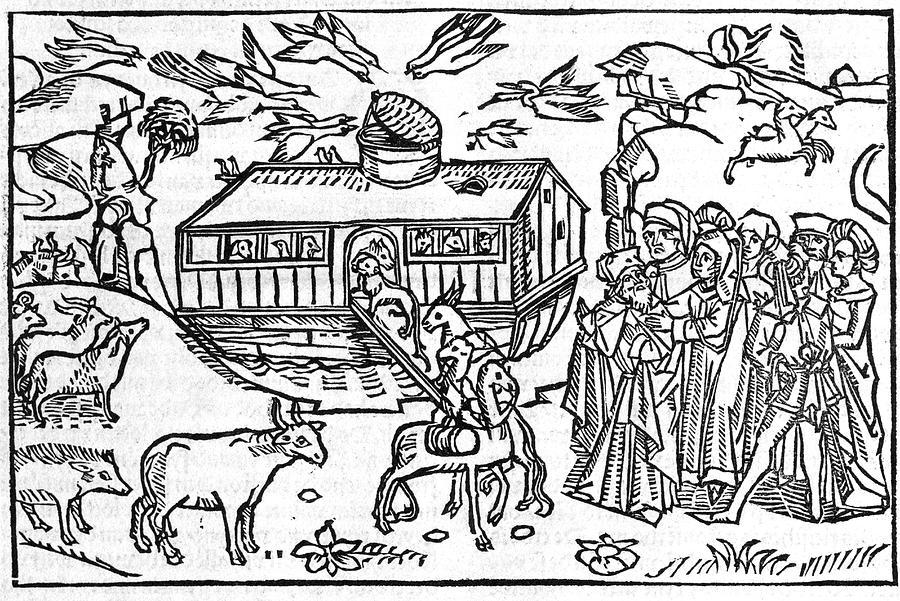 Noah Photograph - Noahs Ark, 16th-century Bible by Kings College London