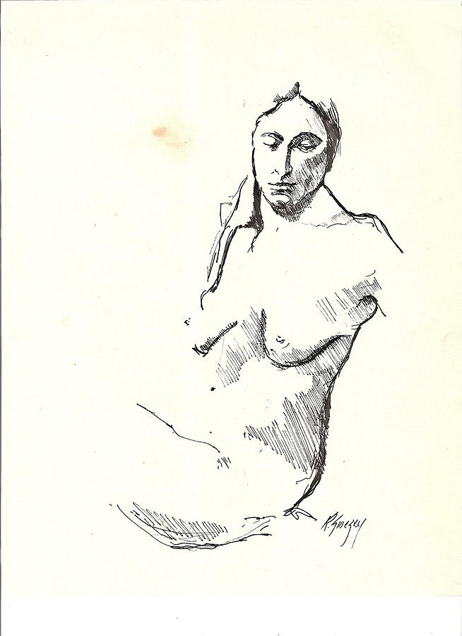 Nude Drawing - Nude Three by R  Allen Swezey