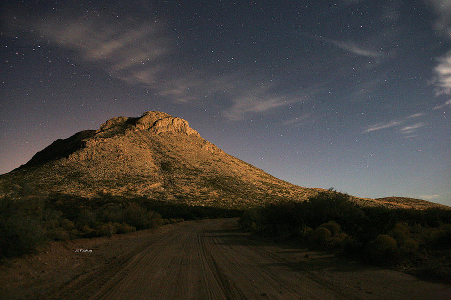 Oro Grande Nm New Mexico Mountain Mountains Stars Starry Starlit Star Night Desert Deserts Southwest West Western Dirt Road Clouds . Photograph - Oro Grande Nights by JC Findley