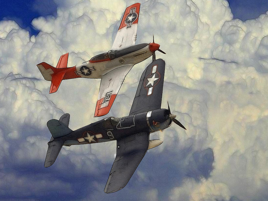 Aircraft P51 Mustang World War Ii Plane Airplane Victory Fighter Battle Cloud Clouds Sky Art Aviation Military Force Corsair Navy Jet Spitfire Painting  Digital Art - Over The Clouds by Steve K
