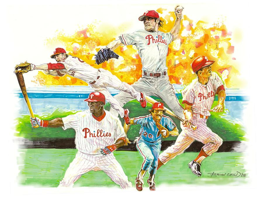 Baseball Mixed Media - Phillies Through The Ages by Brian Child