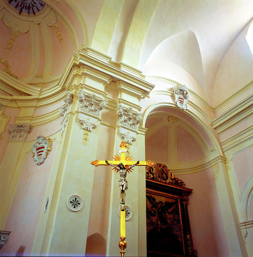 Pink Cathedral With Gold Cross Photograph
