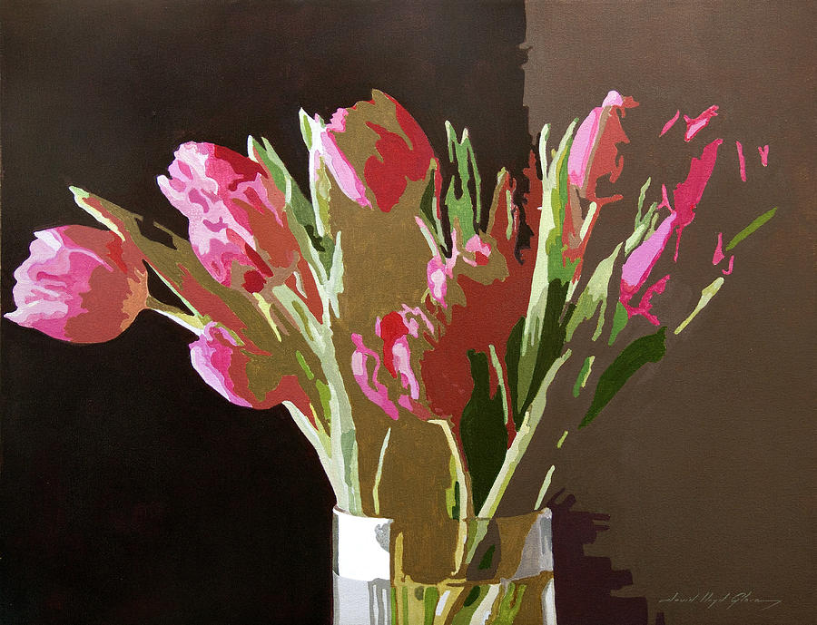 Florals Painting - Pink Tulips In Glass by David Lloyd Glover