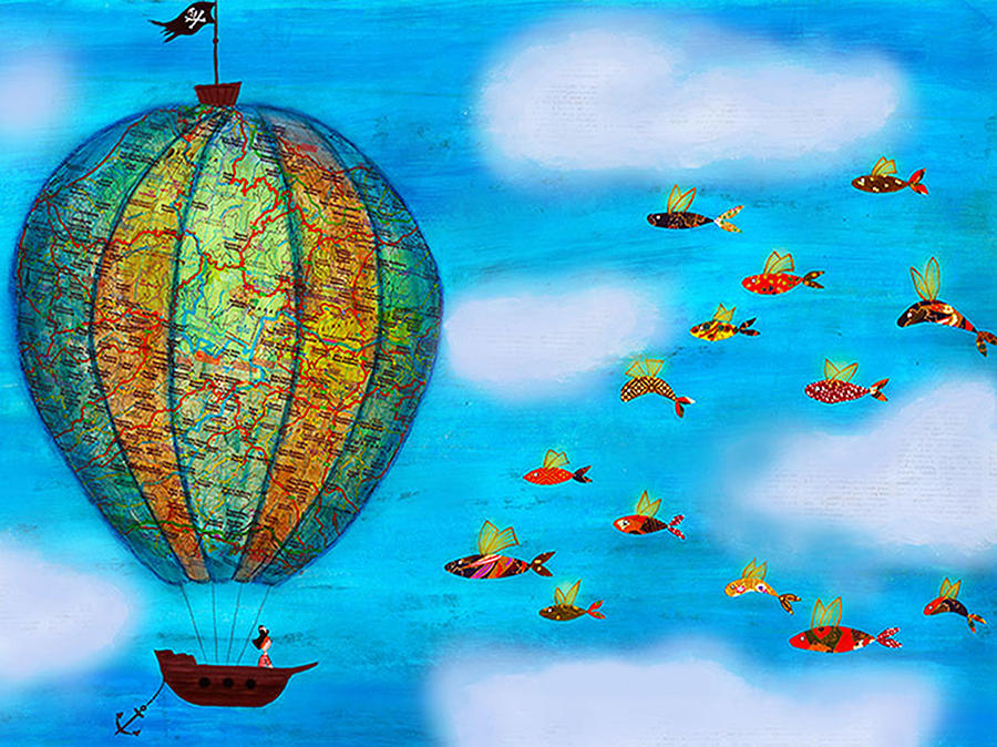 Pirate hot air balloon and flying fish painting by for Flying fish balloon