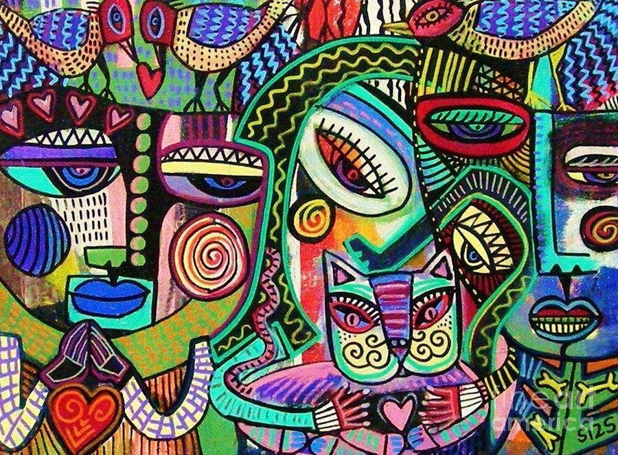 Aztec Woman Paintings - Plump Aztec Print Painting