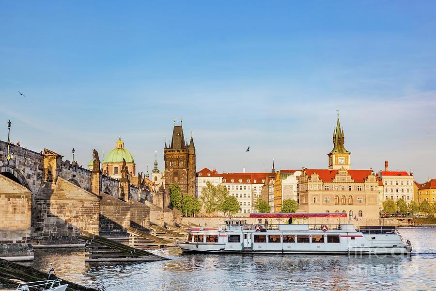 Prague, Czech Republic. Charles Bridge, Boat Cruise On Vltava River Photograph by Michal Bednarek