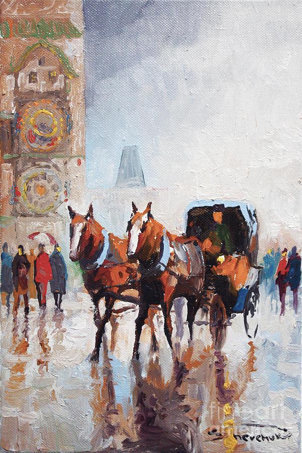 Prague Painting - Prague Old Town Square by Yuriy  Shevchuk