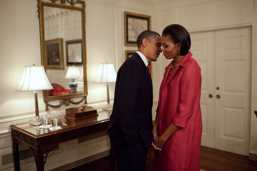 History Photograph - President And Michelle Obama Wait by Everett