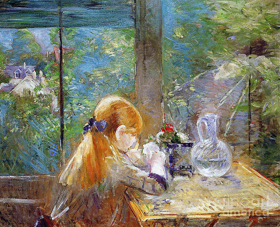 Red-haired Girl Sitting On A Veranda Painting - Red-haired Girl Sitting On A Veranda by Berthe Morisot
