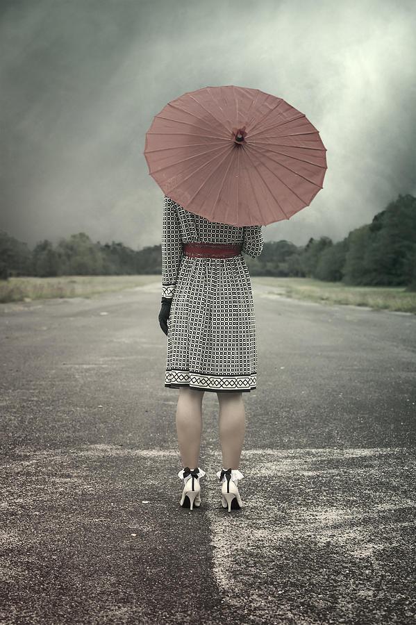 Woman Photograph - Red Umbrella by Joana Kruse