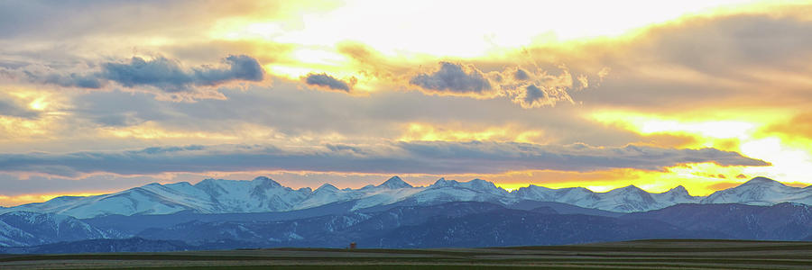 Rocky Mountain Lookout Sunset Gold Panorama Photograph