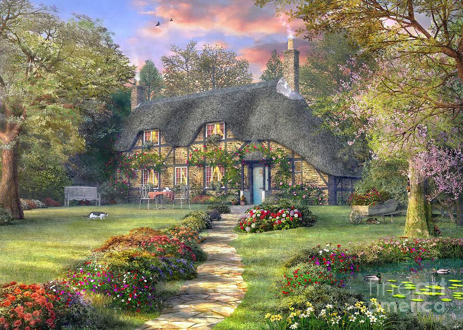 Rosewood cottage digital art by dominic davison for Rosewood garden designs