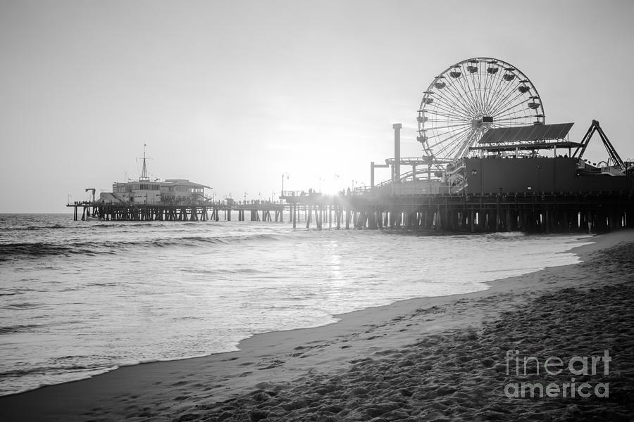 Santa Monica Pier Black And White Picture Photograph