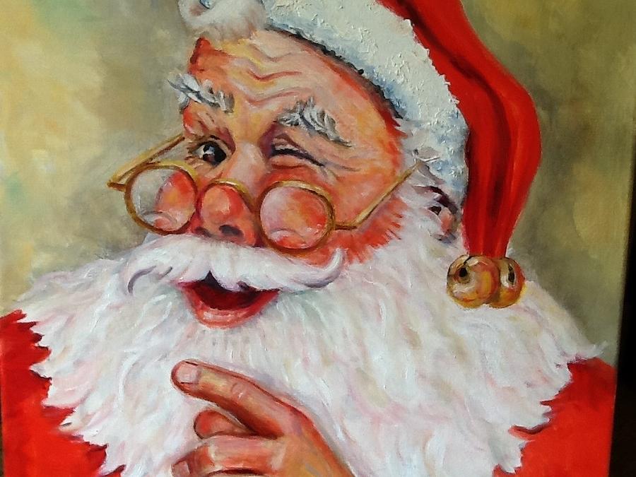 Santa Claus Painting - Santa Winking II by Sheila Kinsey