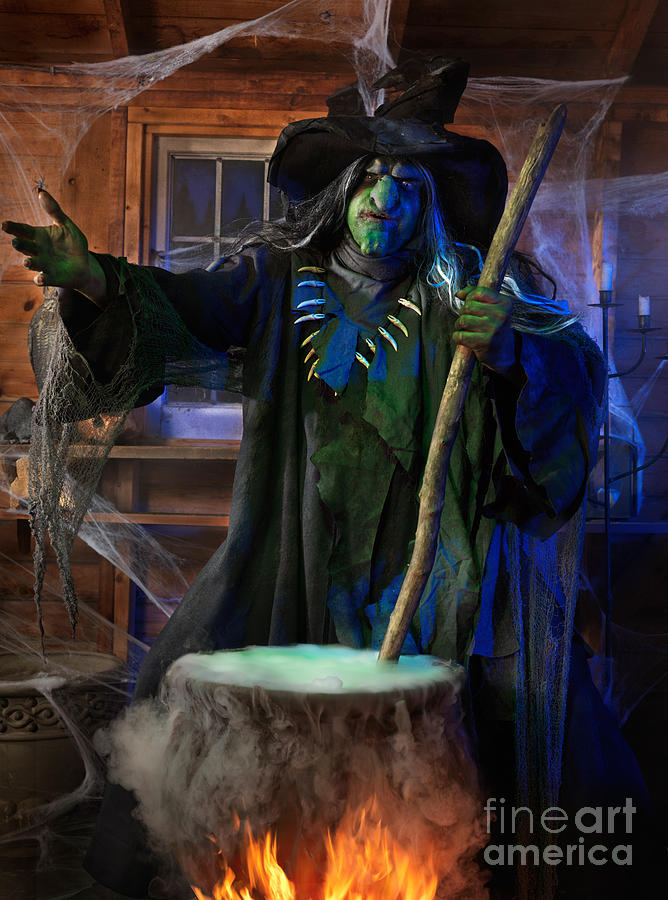 Scary Old Witch With A Cauldron Photograph