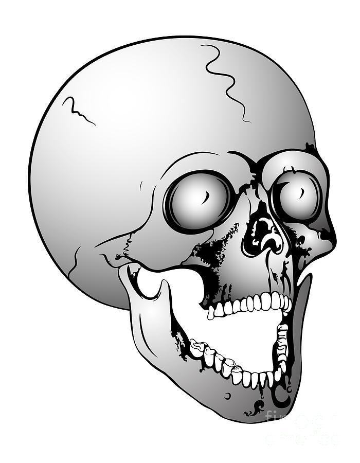 Scull Drawing - Screaming Skull by Michal Boubin