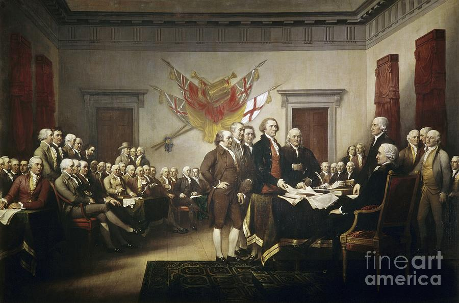 Signing Painting - Signing The Declaration Of Independence by John Trumbull