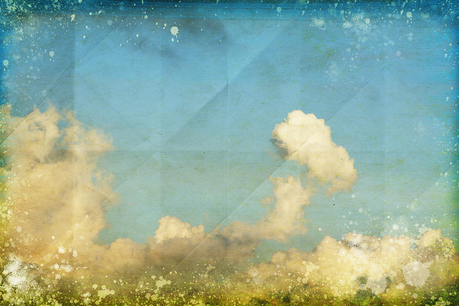 Sky And Cloud On Old Grunge Paper Photograph