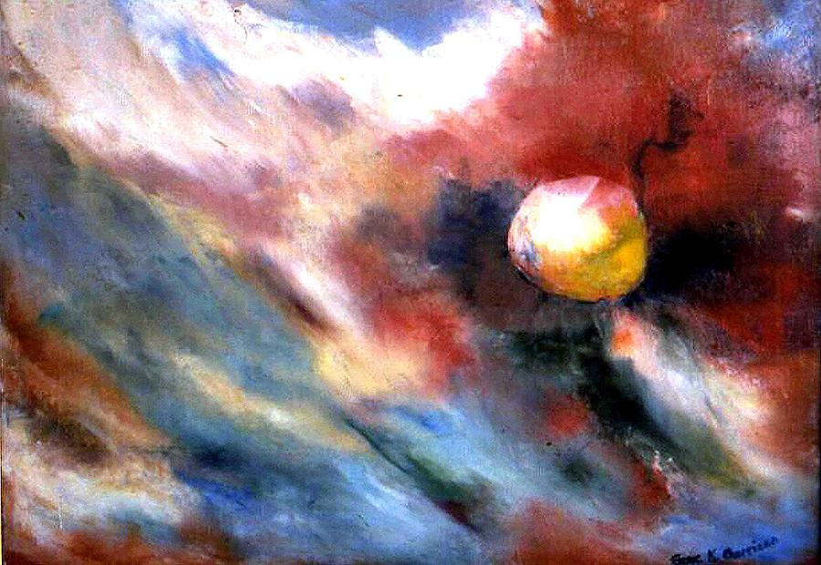 Outer Space Painting - Small Planet by Gene Garrison