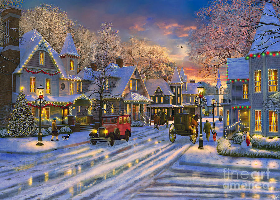 Small Town Christmas Digital Art By Dominic Davison