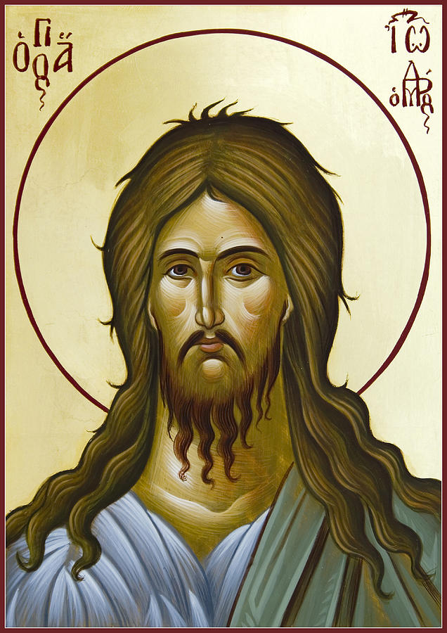 Icon Painting - St John The Forerunner by Julia Bridget Hayes
